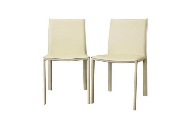 Baxton Studio Black Burridge Leather Dining Chair - (Set of 2) ALC-1822 Black