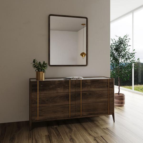 VGWDLCY-DR6-OA-DRS Modrest Oakley - Mid-Century Dark Brown Dresser By VIG Furniture