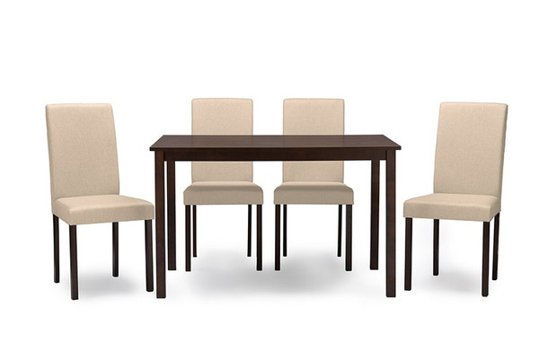 Baxton Studio Andrew Espresso 5-Piece Dining Set Andrew 5 PC Dining Set-Beige Fabric