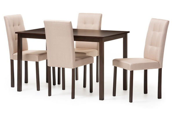 Baxton Studio Andrew 5-Piece Grid-Tufted Dining Set Andrew 5PC Beige 9-Grids Dining Set