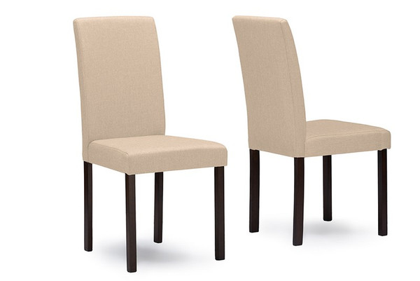 Baxton Studio Andrew Beige Dining Chair - (Set of 2) Andrew Dining Chair-Beige Fabric