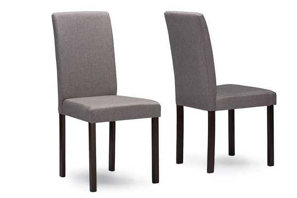 Baxton Studio Andrew Espresso Dining Chair - (Set of 2) Andrew Dining Chair-Grey Fabric