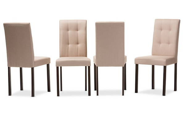 Baxton Studio Andrew Fabric Tufted Dining Chair - (Set of 4) Andrew-DC-9-Grids-Beige