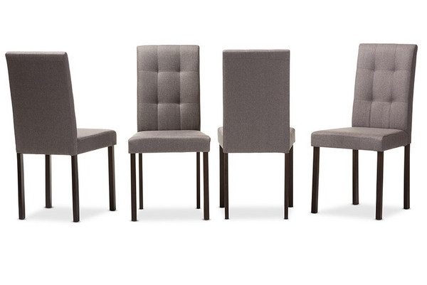 Baxton Studio Andrew Grid-Tufted Dining Chair - (Set of 4) Andrew-DC-9-Grids-Grey