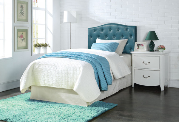 Twin Headboard Only, Blue Pu 285336 By Homeroots
