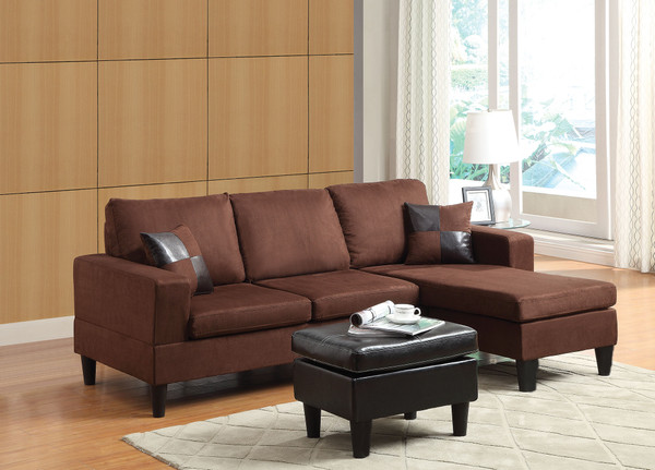 Sectional Sofa (Reversible Chaise) With Ottoman & 2 Pillows, Chocolate Microfiber & Espresso Pu - Mfb, Pu Chocolate Mfb & Espresso Pu 285529 By Homeroots