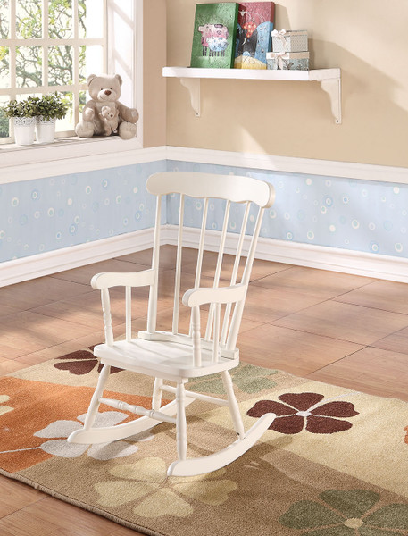 Tall White Wooden Rocking Chair For Children 285706 By Homeroots