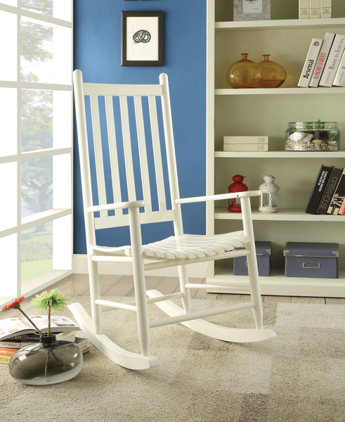 Rocking Chair, White - Rubber Wood White 285719 By Homeroots