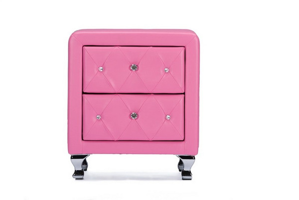 Baxton Studio Stella Crystal Tufted Pink Leather Nightstand BBT3084-Pink-NS
