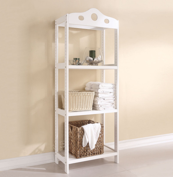 Shelf Rack (3-Tier), White - Solid Pine Wood White 285753 By Homeroots