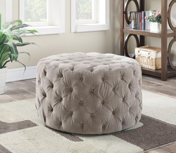 Ottoman, Beige Fabric - Fabric, Foam (Tb117-2013) Beige Fabric 285797 By Homeroots