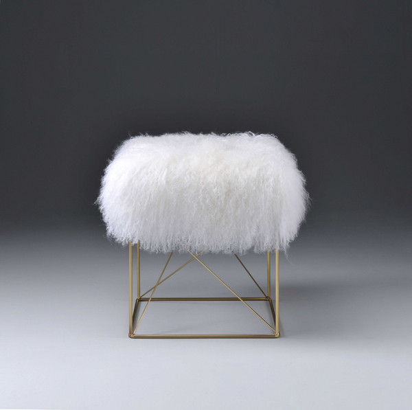 """17"""" X 17"""" X 19"""" Wool And Gold Brass Ottoman 286433 By Homeroots"""
