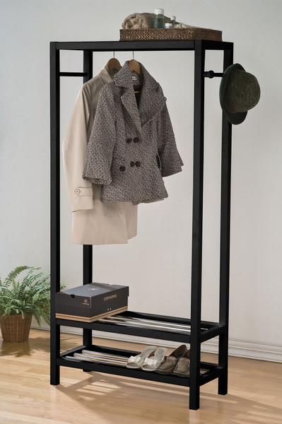 Garment Rack, Black - Solid Pine Wood, 15Mm Iro Black 286516 By Homeroots
