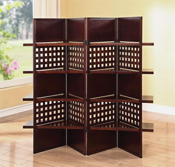 """72"""" X 1"""" X 59"""" Dark Brown 4 Panel Wooden Screen 286565 By Homeroots"""