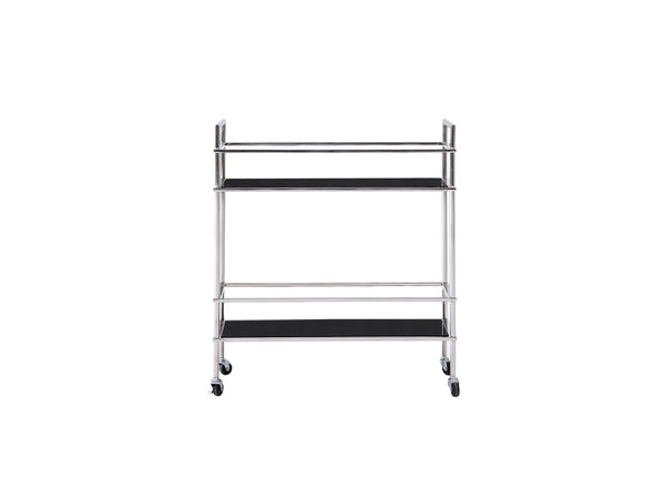 Side Table/ Bar Cart, Black Glass, Stainless Steel Base 320667 By Homeroots