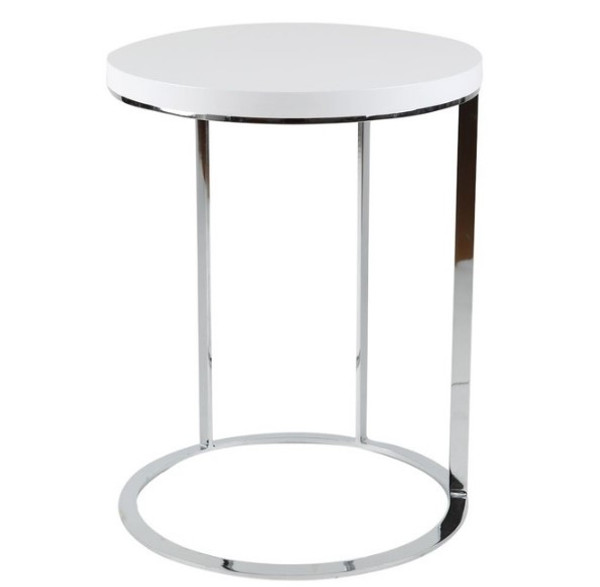 Side Table White Top Chrome Frame 320891 By Homeroots