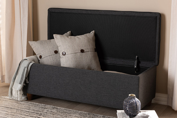 Baxton Studio Dark Grey Fabric Upholstered Button Tufted Storage Ottoman Bench