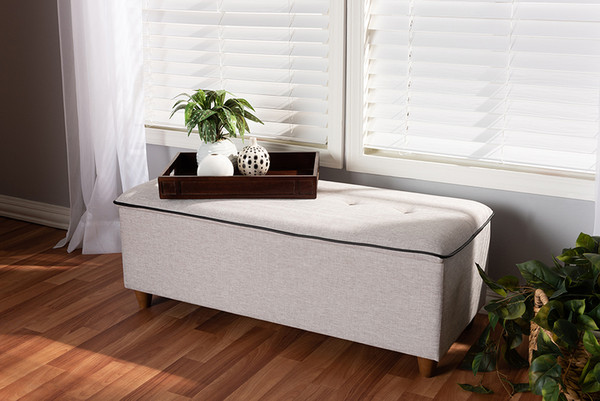 Baxton Studio Greyish Beige Fabric Upholstered Storage Ottoman Bench