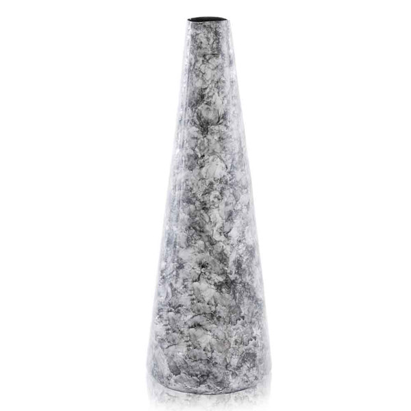 """6.5"""" X 6.5"""" X 18"""" Black/Tall Cone, Faux Marble - Vase 354690 By Homeroots"""