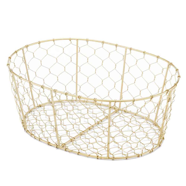 """10"""" X 14"""" X 5.5"""" Antique Brass/Oval Wire - Basket 354754 By Homeroots"""