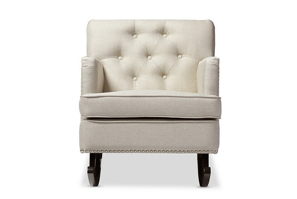 Baxton Studio Bethany Fabric Button-Tufted Rocking Chair BBT5189-Light Beige RC