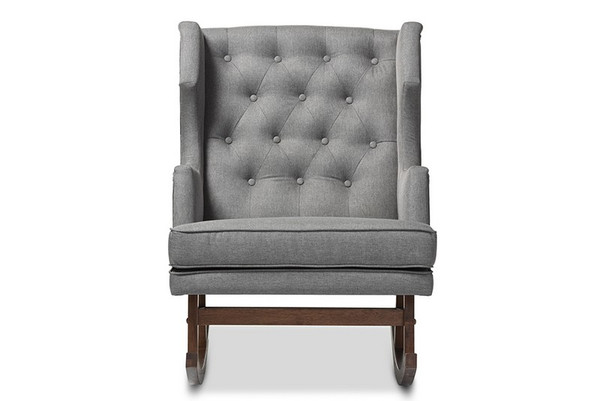 Baxton Studio Iona Retro Button-Tufted Wingback Rocking Chair BBT5195-Grey RC