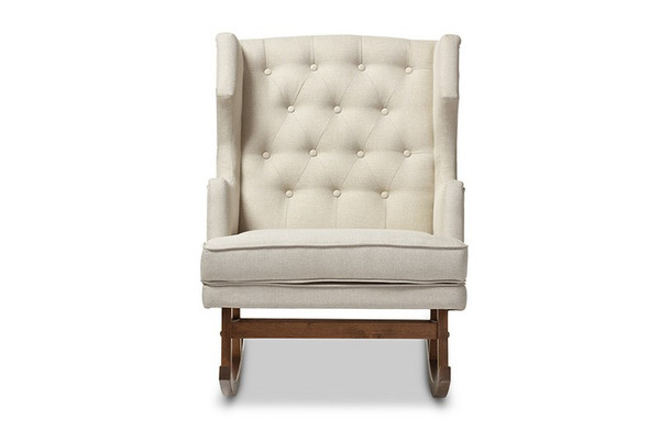 Baxton Studio Iona Retro Button-Tufted Wingback Rocking Chair BBT5195-Light Beige RC