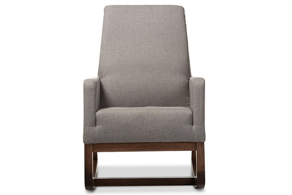 Baxton Studio Yashiya Retro Grey Fabric Upholstered Rocking Chair BBT5199-Grey