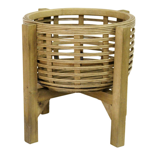 """12.8"""" X 12.8"""" X 11.5"""" Natural Wood 8 Bamboo 1 Wood Plant Stand 373312 By Homeroots"""