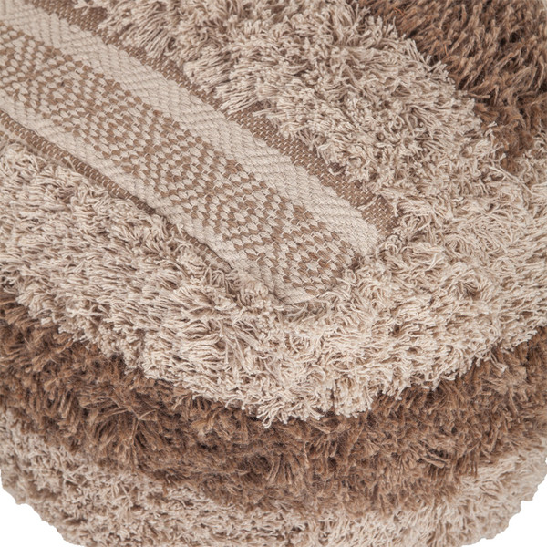 Boho Shaggy Khaki Textured Pouf 383106 By Homeroots