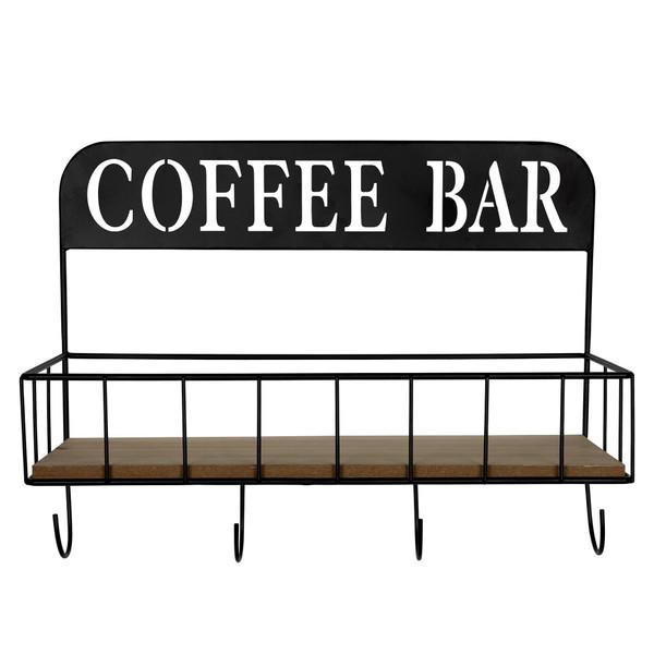 Coffee Bar Metal And Wood Wall Shelf 383231 By Homeroots