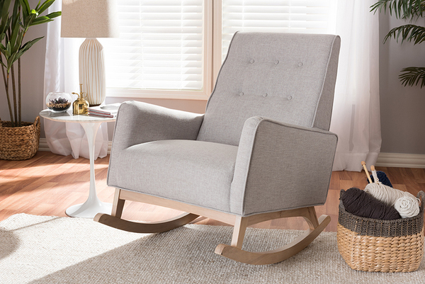 Baxton Studio Greyish Beige Fabric Upholstered Whitewash Wood Rocking Chair