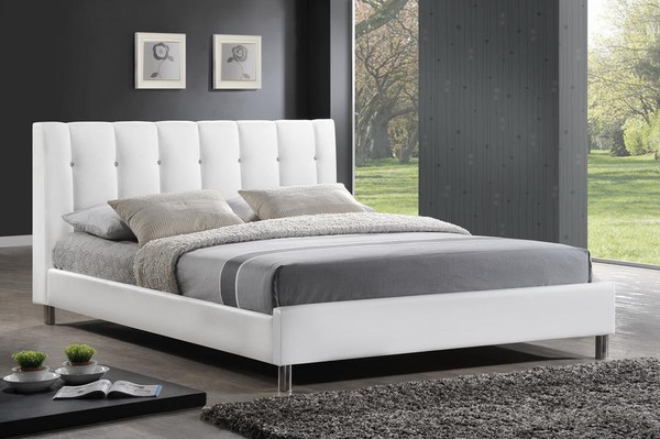 Baxton Studio Vino White Bed with Upholstered Headboard - Queen BBT6312-White-Queen