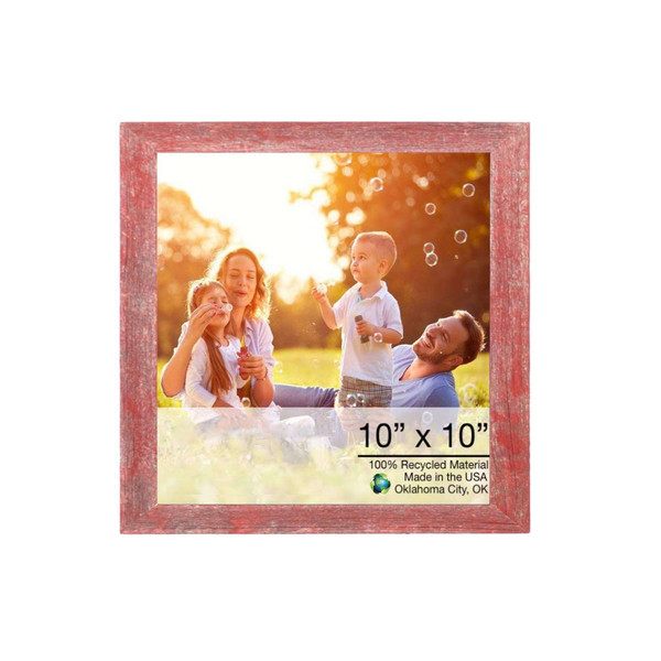 """10"""" X 10"""" Rustic Farmhouse Red Wood Frame 386495 By Homeroots"""