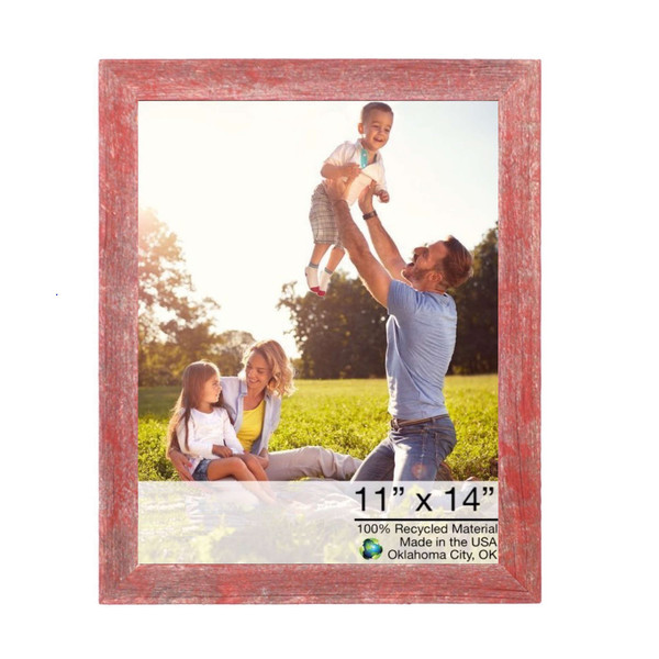 """11"""" X 14"""" Rustic Farmhouse Red Wood Frame 386497 By Homeroots"""