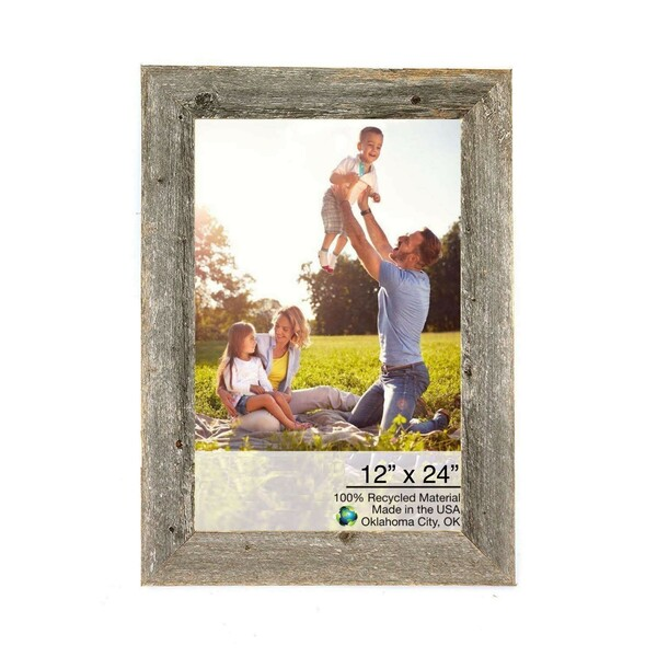 """12"""" X 24"""" Rustic Farmhouse Gray Wood Frame 386512 By Homeroots"""