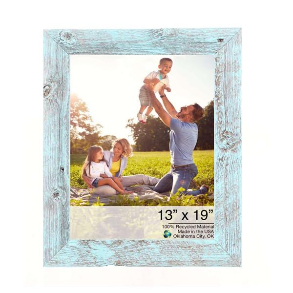 "13"" X 19"" Rustic Farmhouse Light Aqua Blue Wood Frame 386513 By Homeroots"