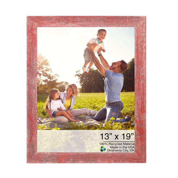 """13"""" X 19"""" Rustic Farmhouse Red Wood Frame 386514 By Homeroots"""