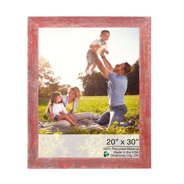 """20"""" X 30"""" Rustic Farmhouse Red Wood Frame 386540 By Homeroots"""