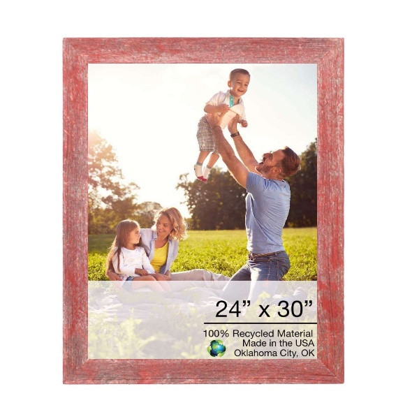 """24"""" X 30"""" Rustic Farmhouse Red Wood Frame 386550 By Homeroots"""