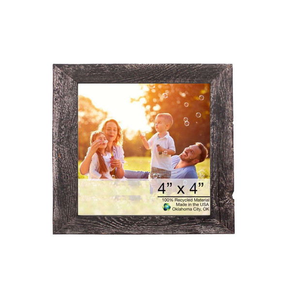 """4"""" X 4"""" Rustic Farmhouse Rustic Black Wood Frame 386555 By Homeroots"""