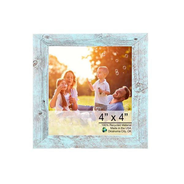 "4"" X 4"" Rustic Farmhouse Light Aqua Blue Wood Frame 386556 By Homeroots"