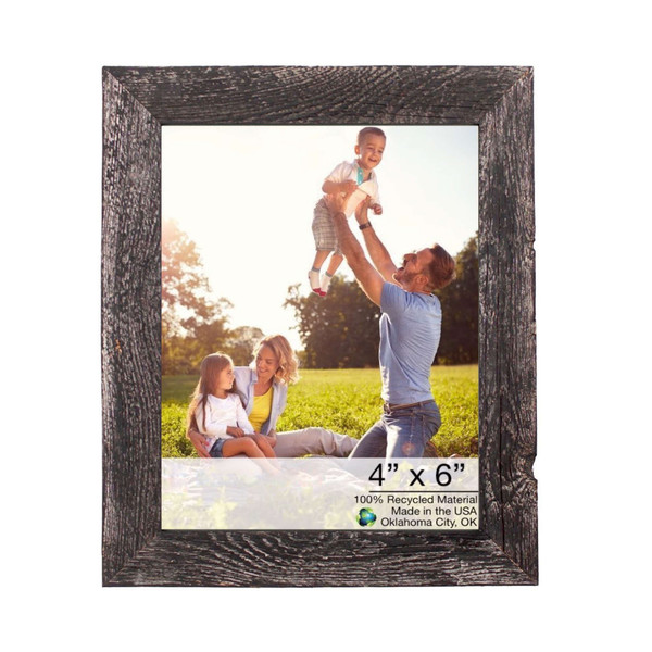 """4"""" X 6"""" Rustic Farmhouse Rustic Black Wood Frame 386559 By Homeroots"""