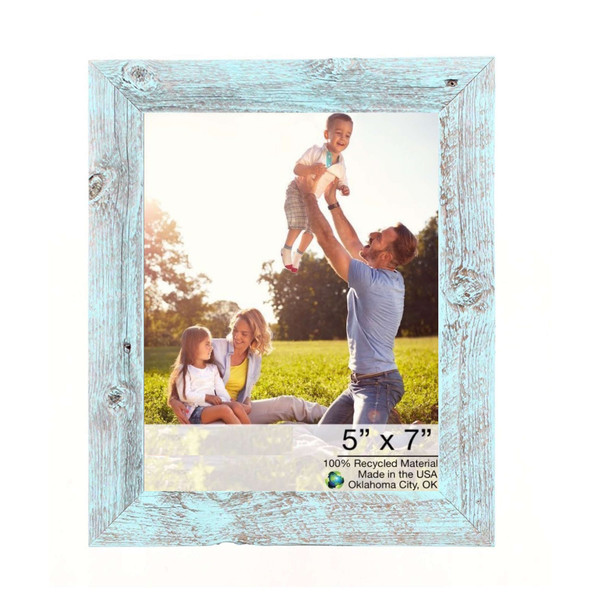 "5"" X 7"" Rustic Farmhouse Light Aqua Blue Wood Frame 386564 By Homeroots"