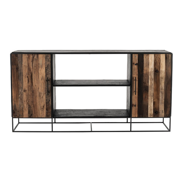Modern Rustic Black And Natural Media Center Tv Stand 388254 By Homeroots