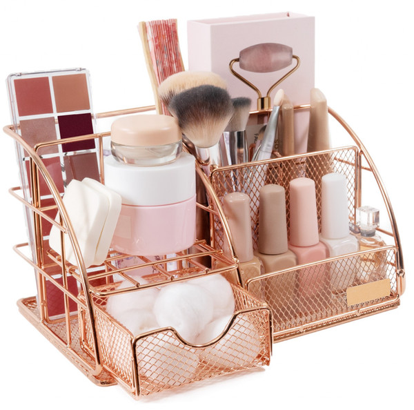 Stylish Rose Gold Makeup And Skin Care Organizer For Vanity 388478 By Homeroots
