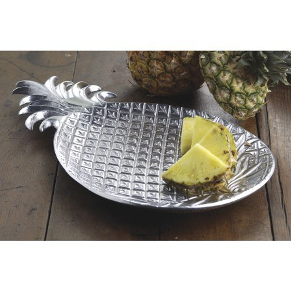 Silver Tropical Pineapple Shaped Serving Platter 388565 By Homeroots