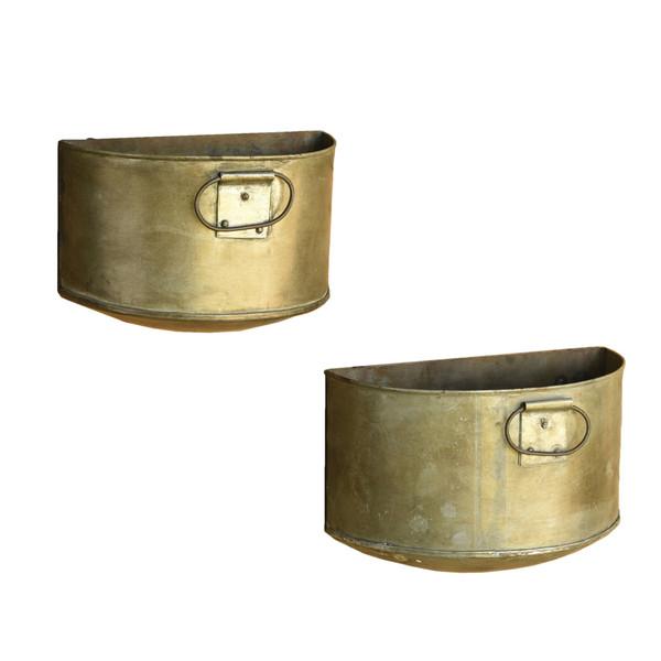 Set Of 2 Half Bucket Metal Planter 388896 By Homeroots