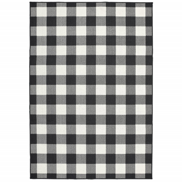 7'X10' Black And Ivory Gingham Indoor Outdoor Area Rug 389520 By Homeroots