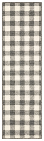 2'X8' Gray And Ivory Gingham Indoor Outdoor Runner Rug 389524 By Homeroots